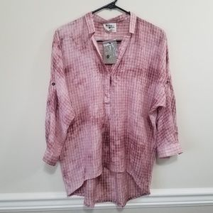 NWT Holding Horses Pink Dappled Grid Top Size XS
